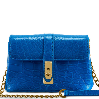 Maeni Ezia royal blue crocodile mini bag