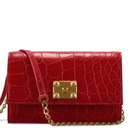 Maeni Naevia shiny red crocodile clutch