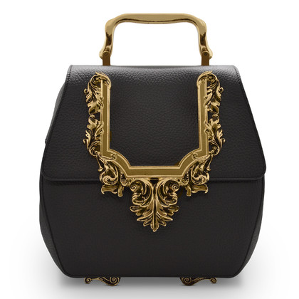 BubuBa BUBUBA001 Black/Gold madras leather handbag